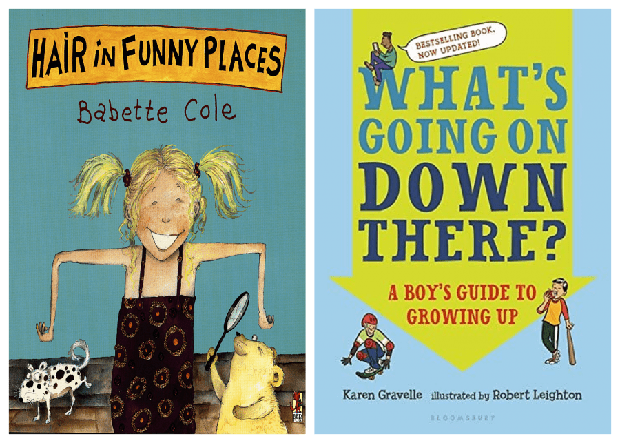 puberty books | Hair in Funny Places by Babette Cole and What's Going on Down There? A Boy's Guide to Growing Up by Karen Gravelle