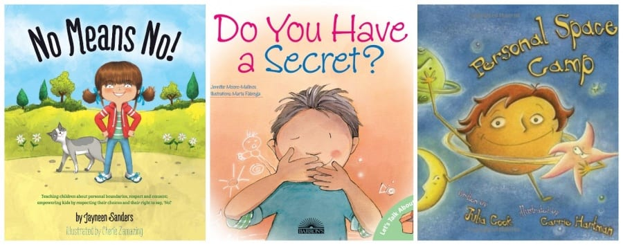 books about consent for preschoolers and toddlers | No Means No by Jayneen Sanders | Do You Have a Secret? by Jennifer Moore-Mallinos | Personal Space Camp by Julia Cook
